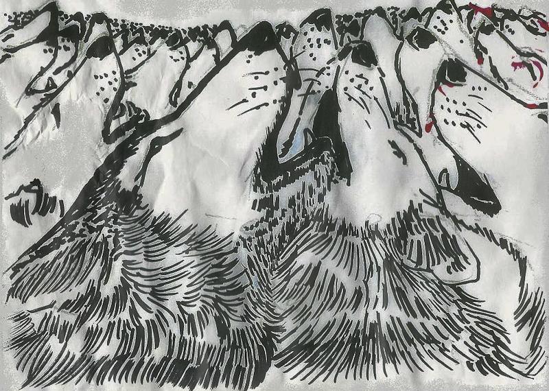Howl 'en - Wolf - painting Michael Edward Nardachioni