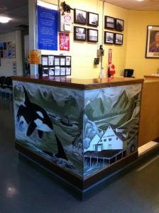 Evelyne Saller Centre - front desk mural