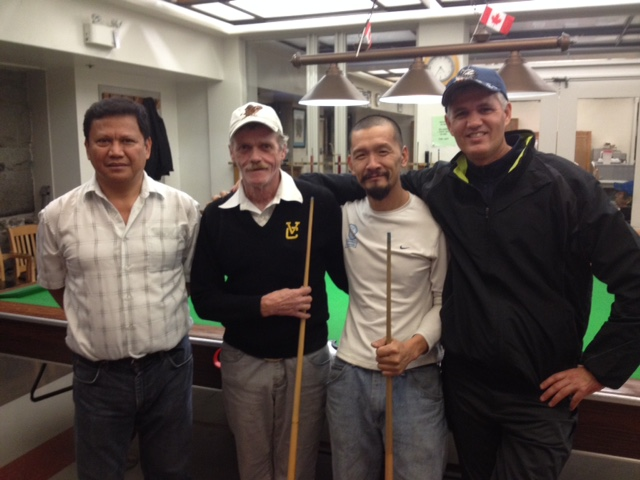 Snooker Tournament 2014 - l to r Art Diaz, Gerry Humphrey, John Sun, Brad Hurlbert - photo Colleen Gorrie copy